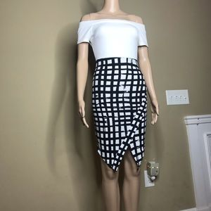 Black and White Bodycon Plaid Checker Dress small